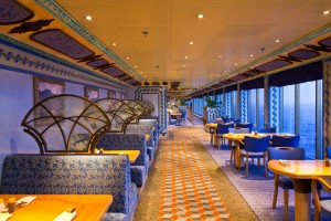 An elegant deluxe dining hall in cruise ship